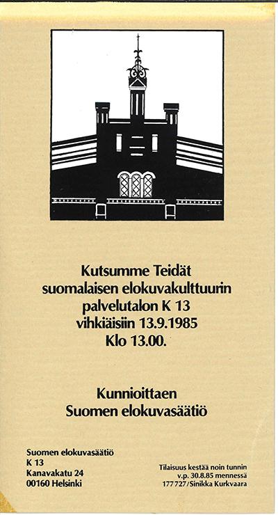 Kino K-13:n avajaiskutsu vuodelta 1985